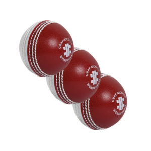 Lot de 3 balles de Cricket rouges et blanches Gray-Nicolls Wonderball