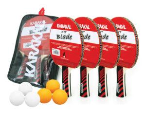 Kit de 4 Raquettes de Ping Pong Karakal + 6 Balles